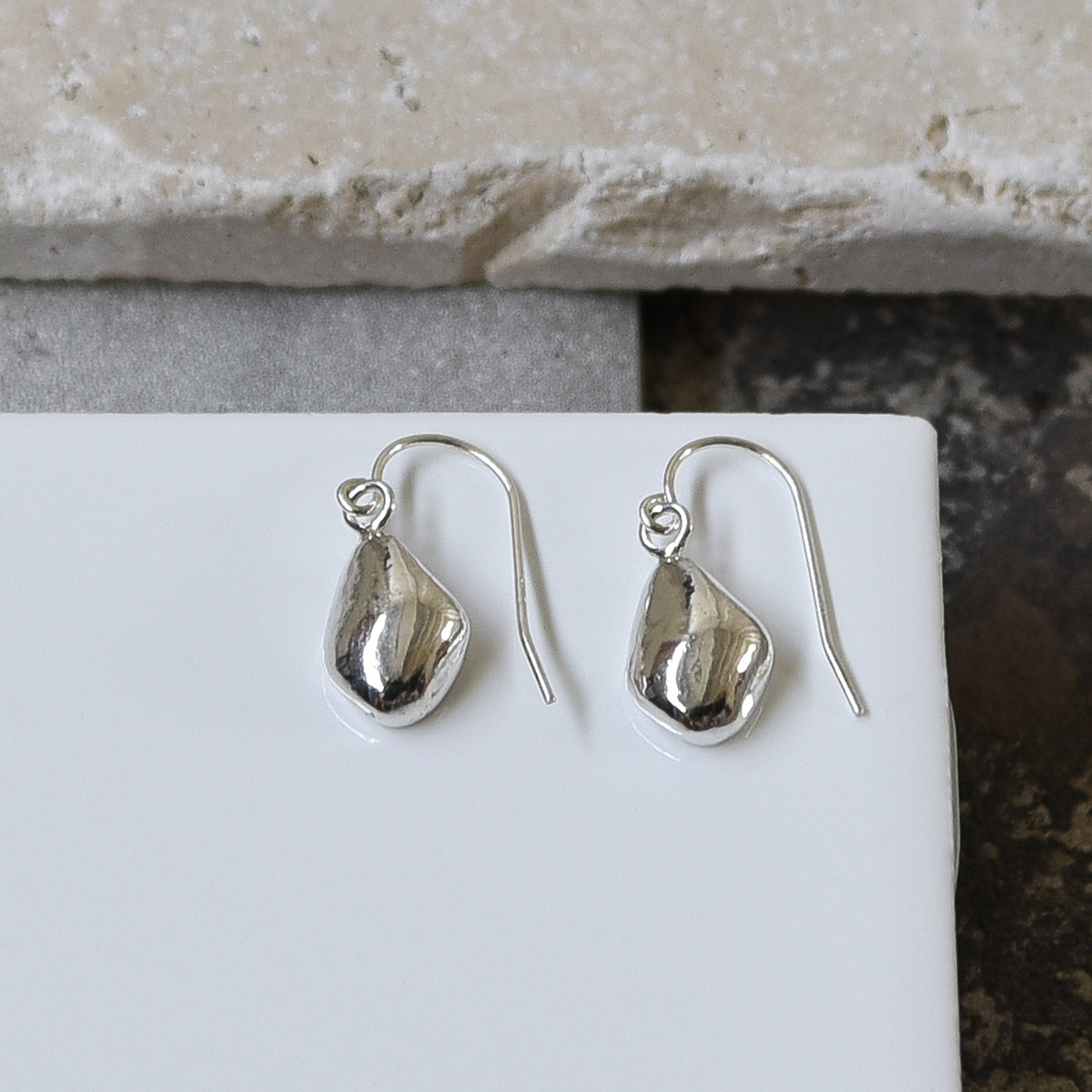 Silver Pebble Earrings