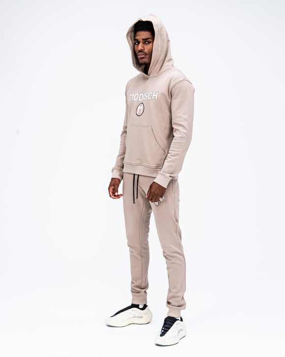 Modisch Cycle Logo Sweatsuit - Beige w/ White & Black