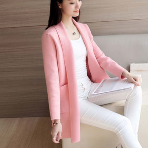 DRL Women's Autumn Winter Cardigan Sweater and Long Sections Wool Sweaters Slim Tight Bottoming Knitted Cardigans
