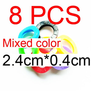 3pcs/8pcs/16pcs Mixed Color Hollow Rubber Key Covers Multi Color Round Soft Silicone Keys Locks Cap Elastic Topper Keyring Case