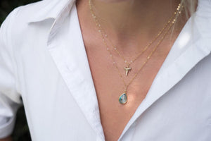 2 layer necklace-gold shark tooth-blue pendant