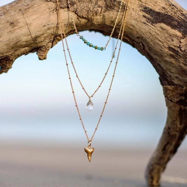 Beach Boho Layered Shark Tooth Necklace - Foxy Fossils