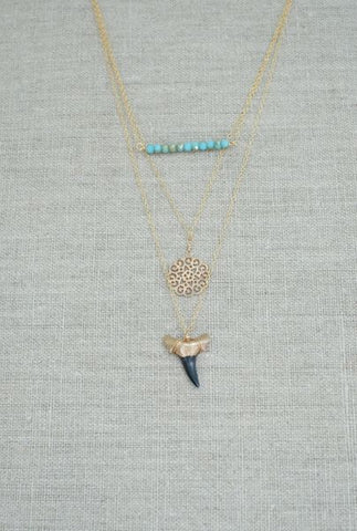 Charleston Trio 3-Layer Gold Shark Tooth Necklace