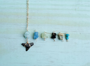 Wire-Wrapped Shark Tooth Necklace - Natural with your choice of stones - Foxy Fossils