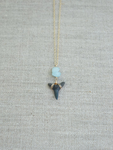 Wire-Wrapped Shark Tooth Necklace - Natural with your choice of stones