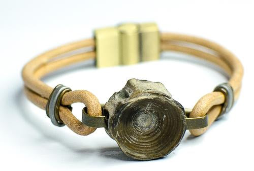 tan leather vertebracelet-fossil shark vertebra bracelet-men's leather vertebracelets tan