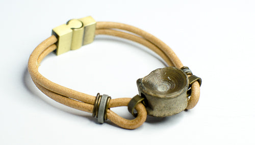 tan vertebracelet with shark vertebra