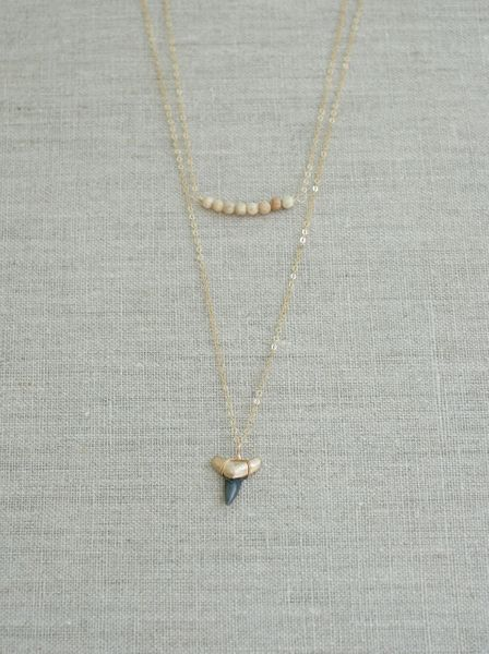 Double-Layer Shark Tooth & Jasper Necklace