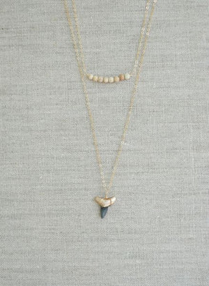 Double-Layer Shark Tooth & Jasper Necklace - Foxy Fossils