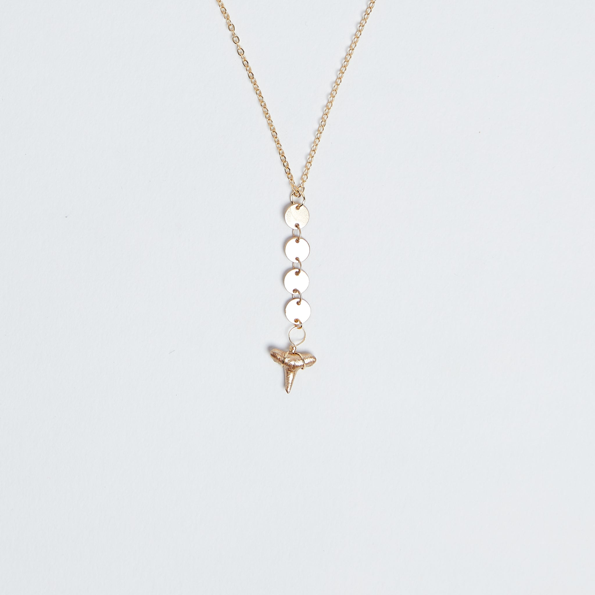 gold shark tooth y necklace on gold disc/medallion chain 14k gold filled shark tooth y necklace