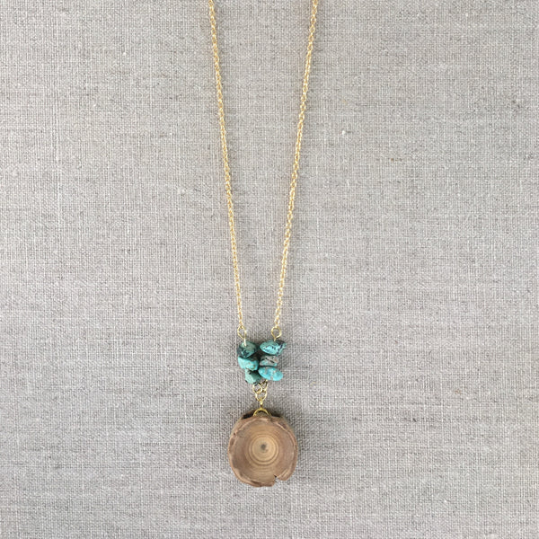 Long Shark Vertebrae Necklace with Turquoise - Foxy Fossils