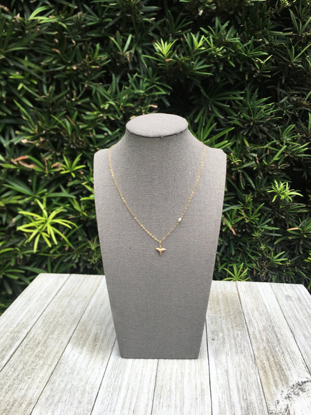 The Sullivan's Necklace - dainty gold shark tooth necklace with tiny pearl—Foxy Fossils