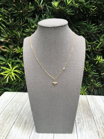 minimal gold filled necklace with real shark tooth and tiny freshwater pearl