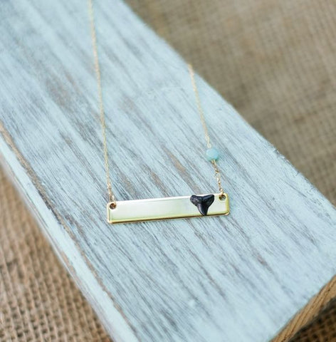 14 kt gold filled necklace with small aquamarine bead and real natural tiny fossil shark tooth