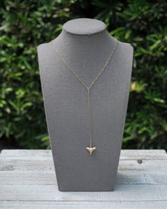 Foxy Fossils Gold shark tooth y-necklace
