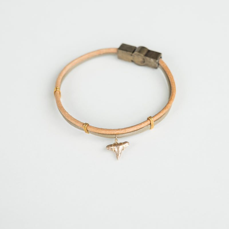 2 tone leather shark tooth bracelet