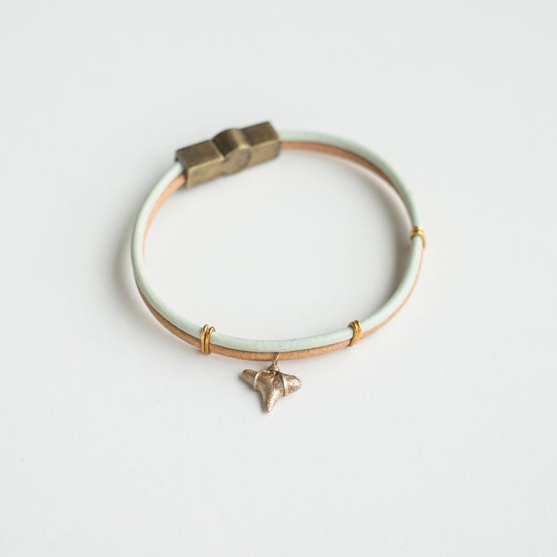 seafoam and tan leather bracelet with real shark tooth charm in gold