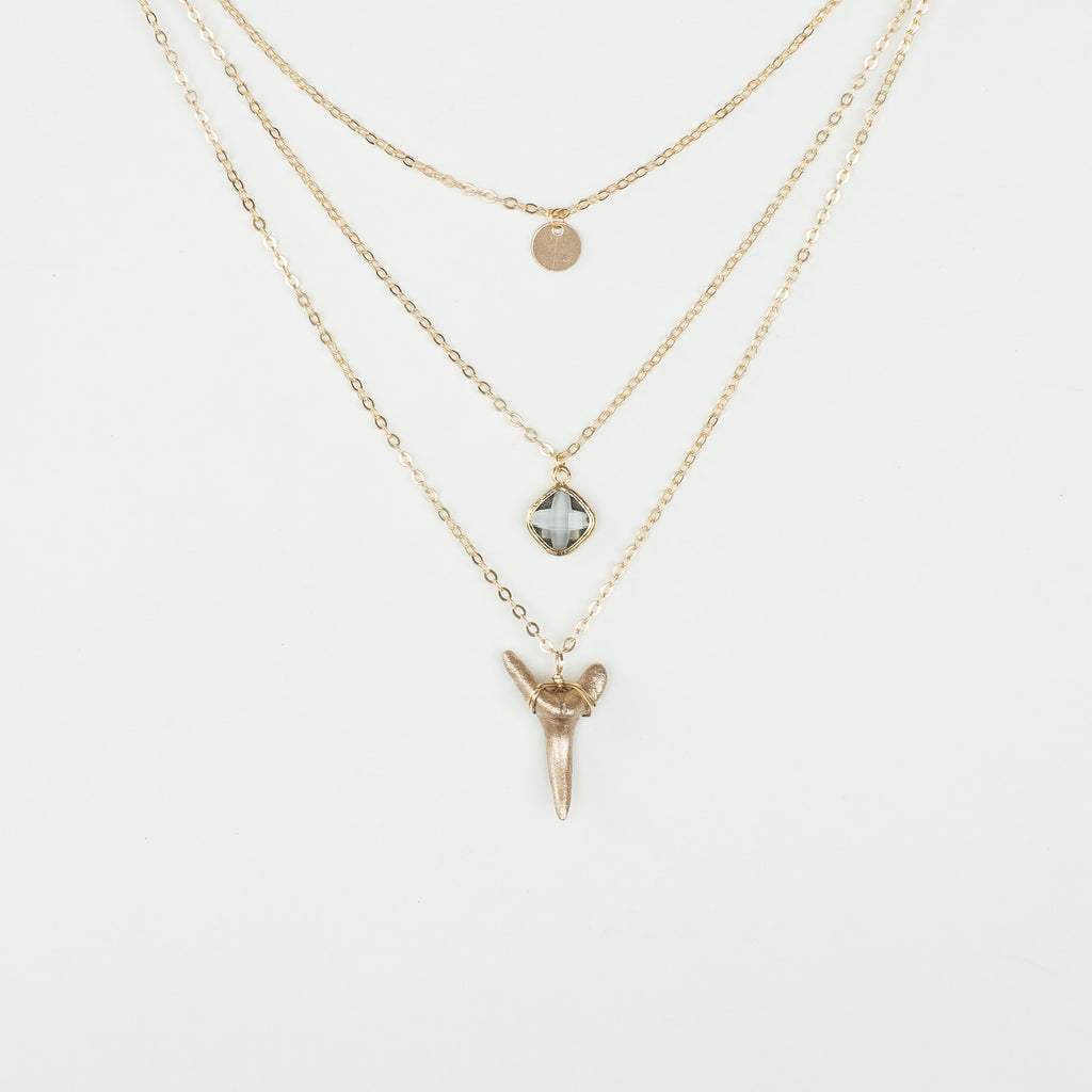 3 layer gold shark tooth necklace