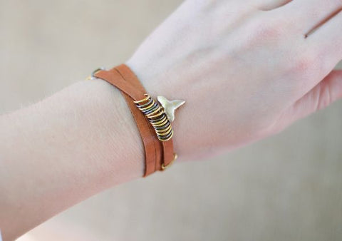 Leather Wrap Shark Tooth Bracelet - Foxy Fossils