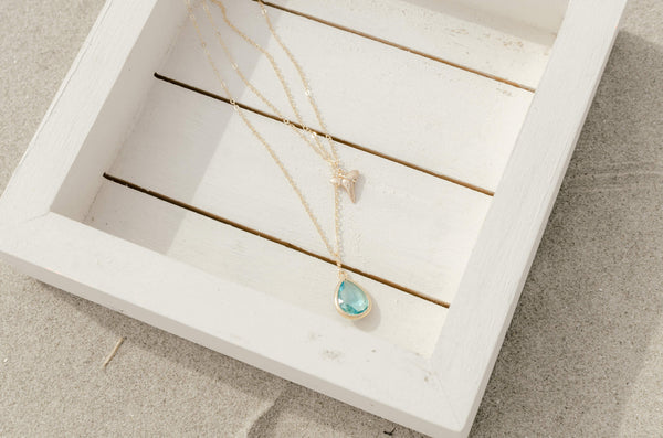gold shark tooth 2 layer necklace — aqua blue | Foxy Fossils