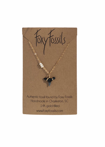 dainty gold wire wrapped shark tooth necklace with tiny pearls—ethically sourced fossilized shark tooth pendant—Foxy Fossils