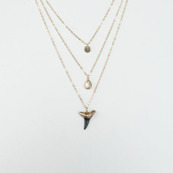 real shark tooth necklace-triple layer gold necklace