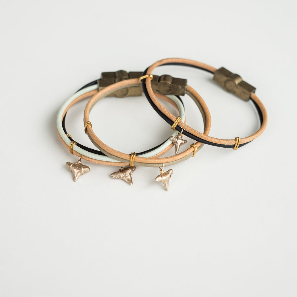 two tone leather shark tooth bracelets