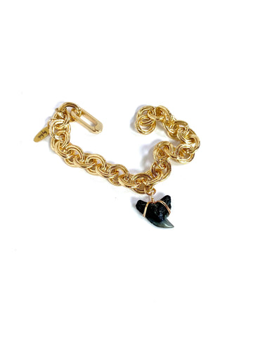 chunky gold chain bracelet with tiger shark tooth charm