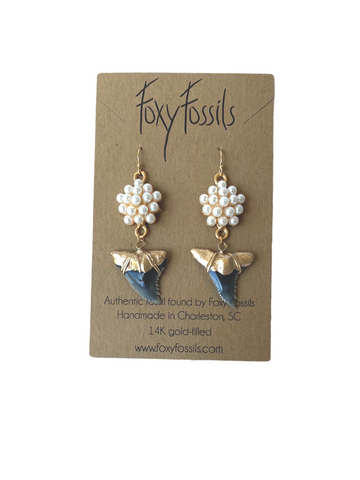 hemi earrings authentic fossil shark tooth earrings gold tip with cluster of pearls-ethically sourced fossilized earrings—Foxy Fossils