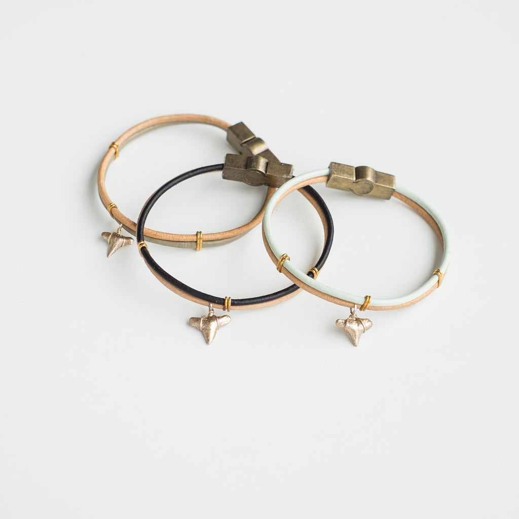 gold shark tooth charm bracelets