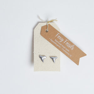 Silver Shark Tooth Stud Earrings - Foxy Fossils
