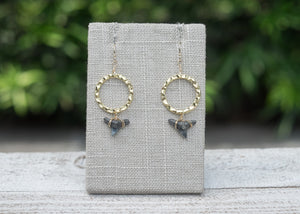 real shark teeth earrings on hammered gold loops