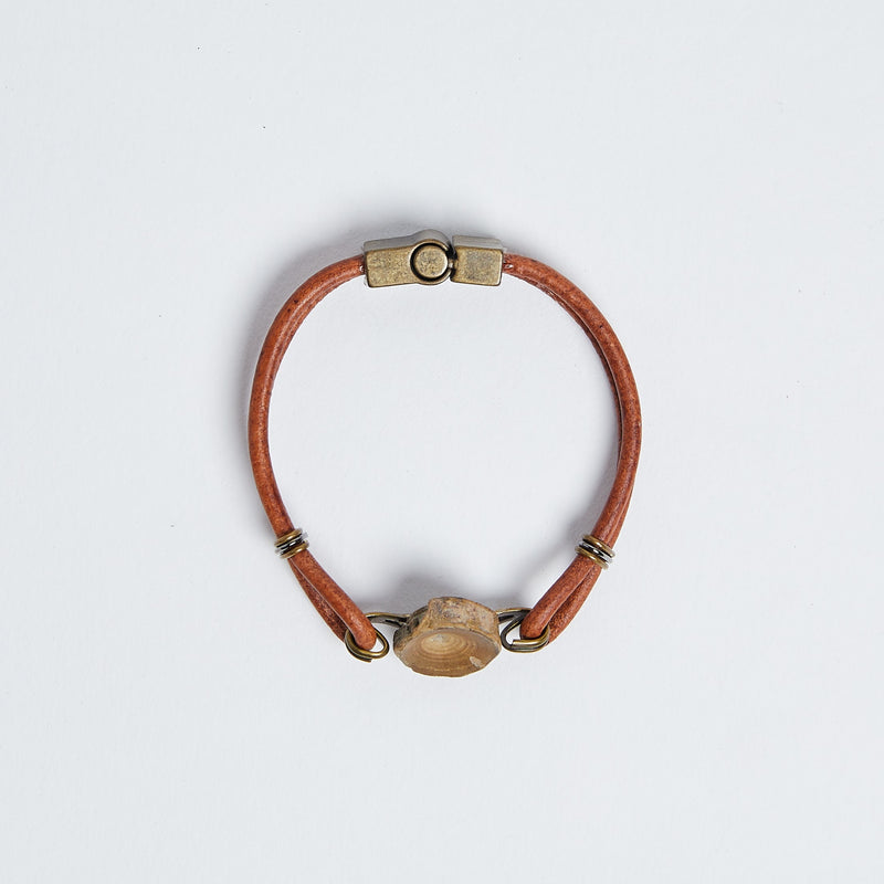 mens vertebracelet by Foxy Fossils-brown leather vertebra bracelet