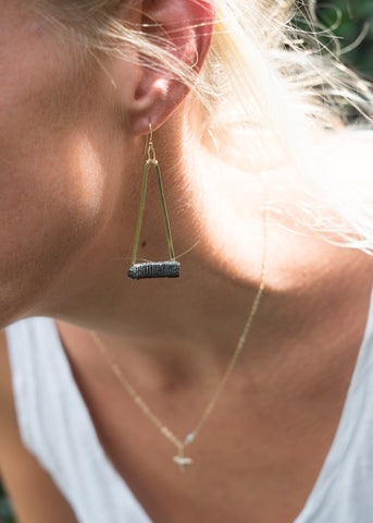real fossil stingray mouth plate earrings | sustainably & ethically made earrings - Foxy Fossils