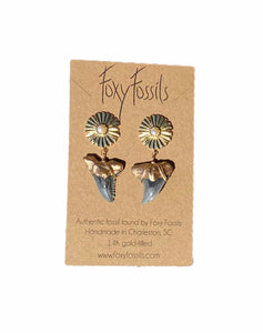 Hemi & Her Sunburst Earrings - Real Fossil Teeth | Foxy Fossils