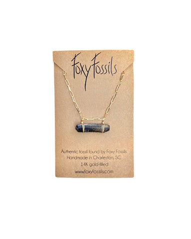 fossilized stingray bar necklace on link chain-real fossil jewelry ethically sourced—Foxy Fossils