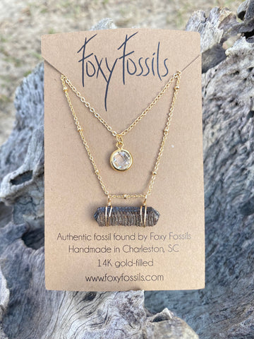 Layered stingray necklace with fossilized stingray mouth plate