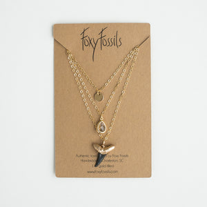 triple layer gold shark tooth necklace with real fossil shark tooth dipped in gold