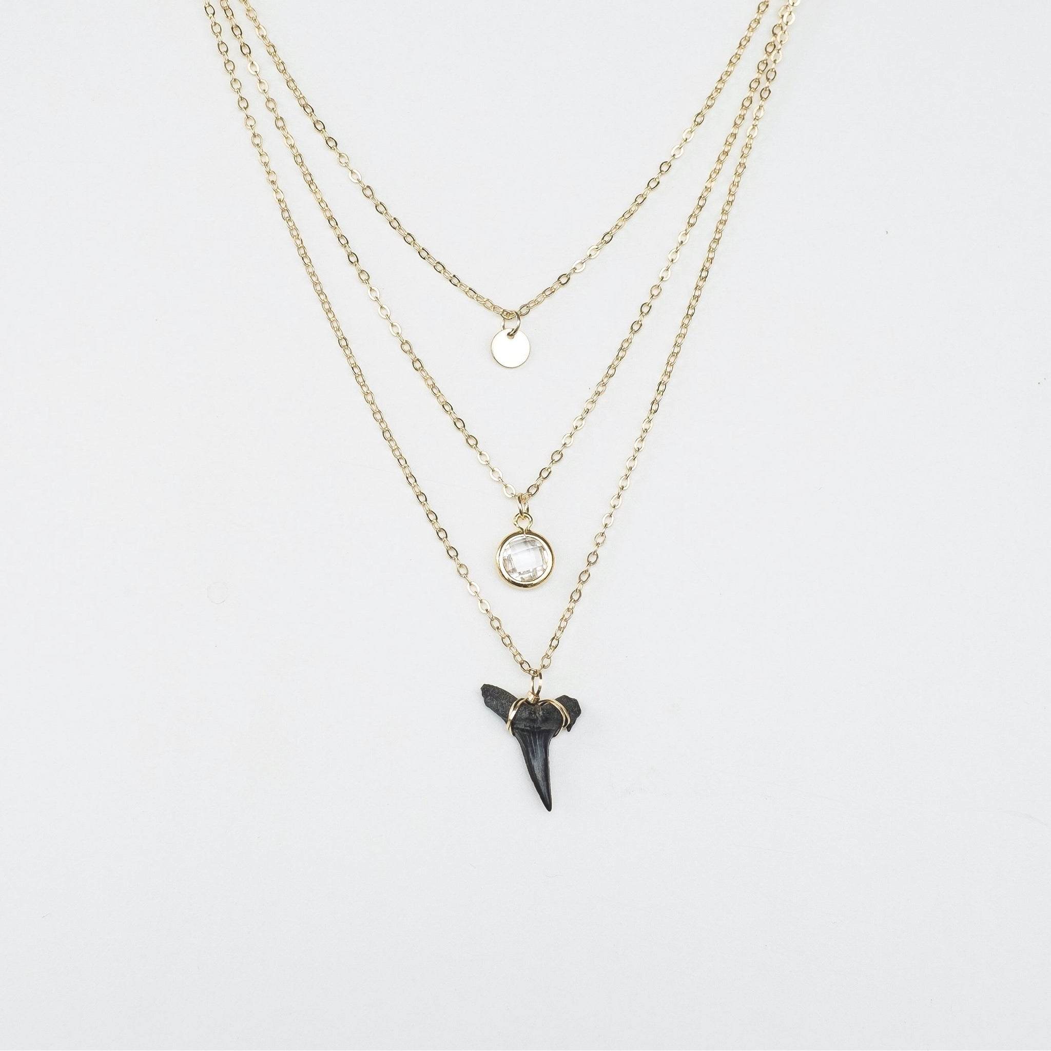 real shark tooth dainty layering necklace - natural shark tooth fossil from prehistoric sand tiger shark; elegant triple layer shark tooth necklace