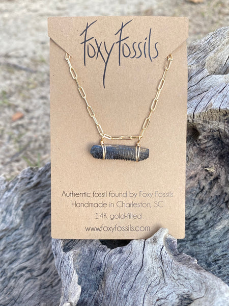stingray necklace —fossilized stingray mouth plate bar style necklace on dainty link chain—Foxy Fossils