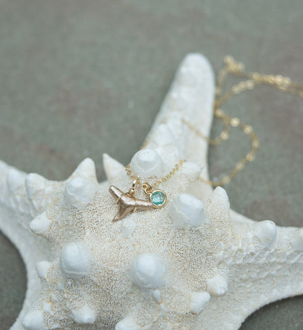 Dainty necklace with real fossilized shark tooth and tiny glass pendant