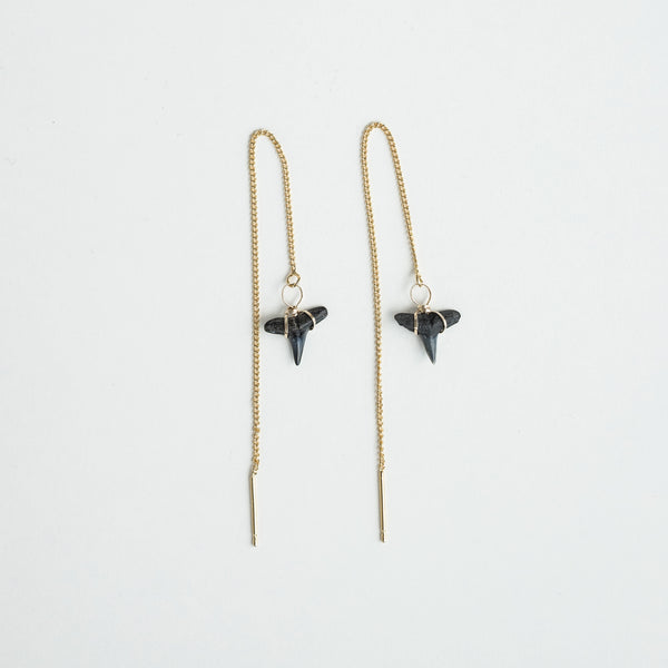 real fossil shark teeth threader earrings