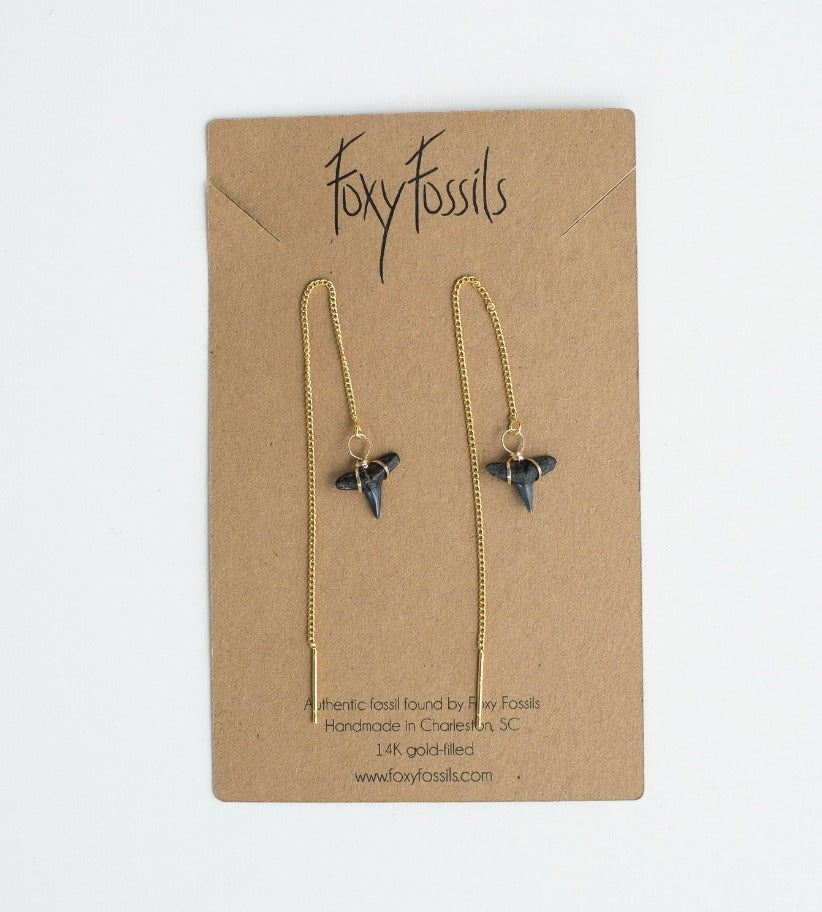 pair of real fossil shark tooth threader earrings