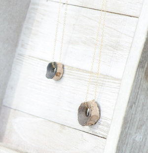 fossil shark vertebrae on 14kt gold filled necklaces