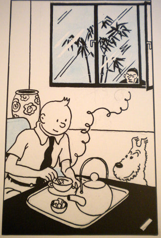Tintin Drinking Tea