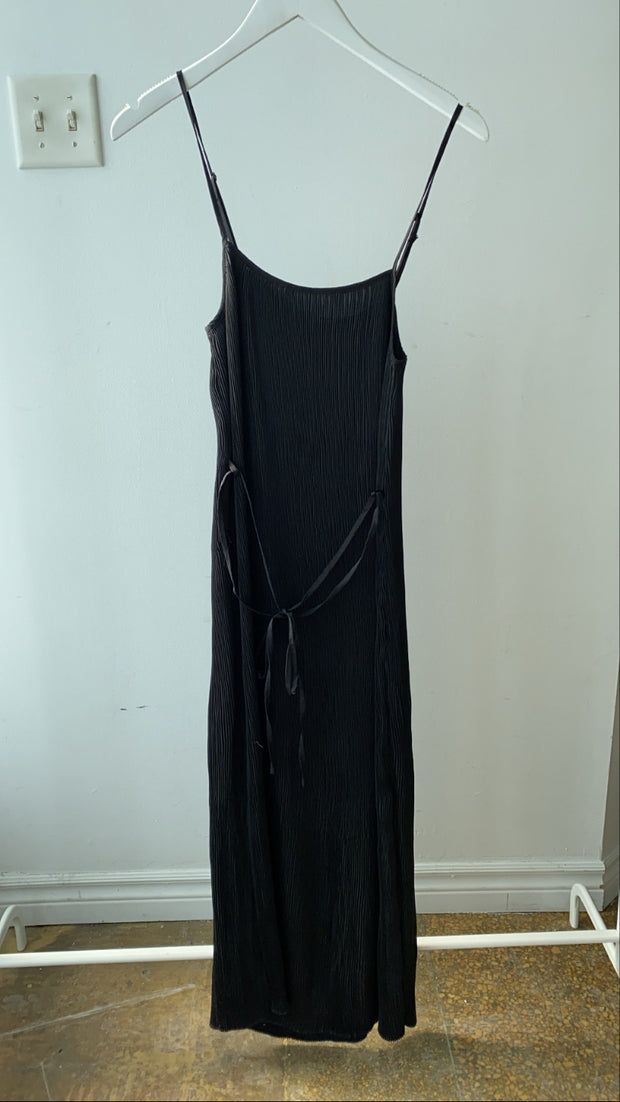 Tightly Pleated Maxi Dress with Tie