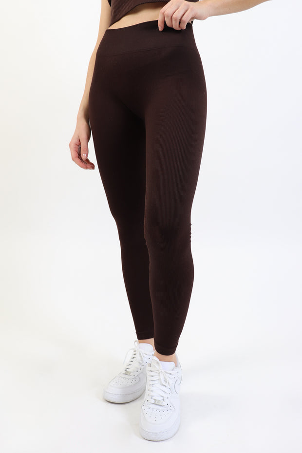 Chocolate Brown Ribbed Legging