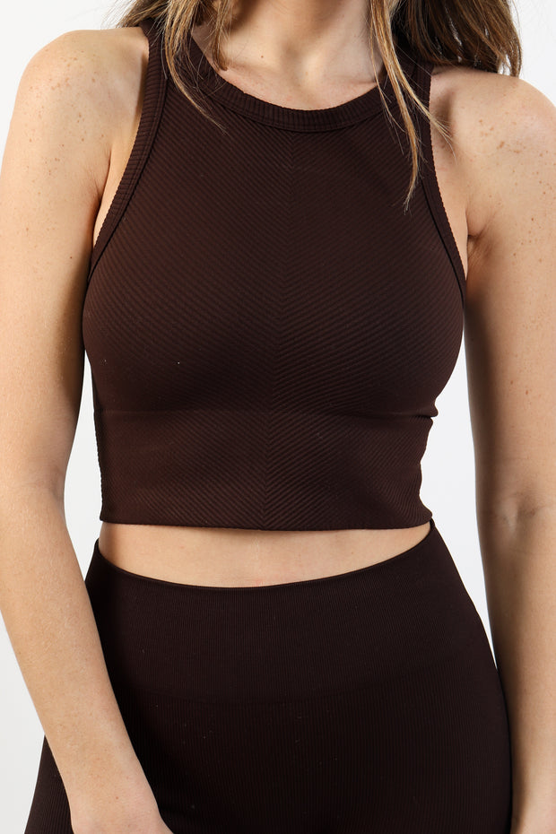 Chocolate Brown Ribbed High Neck Crop Top
