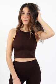 Chocolate Brown Chevron High Neck Crop Top