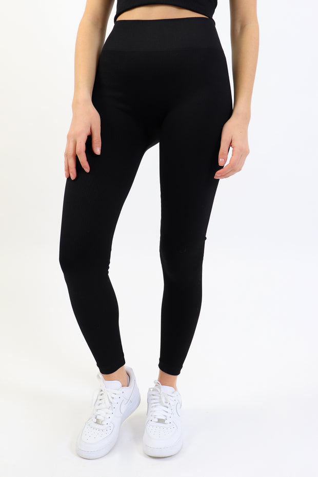 Black Ribbed Legging